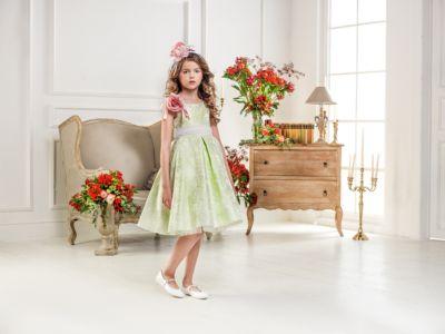 Нарядное платье Les Gamins для девочки - зеленый
