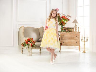 Нарядное платье Les Gamins для девочки - желтый