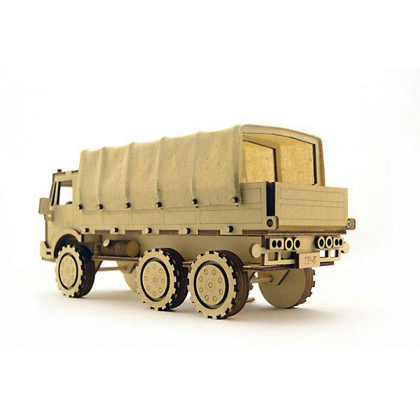 """Сборная деревянная модель Lemmo """"Военный грузовик"""", подвижная"""
