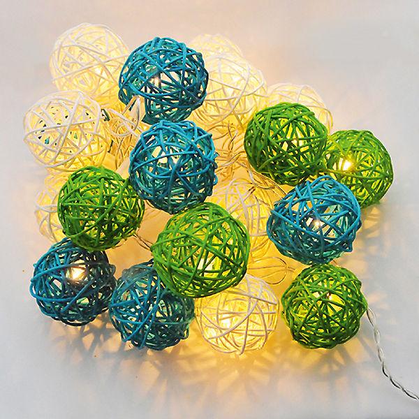 """Гирлянда ротанг LED 3м """"Зелёная волна"""" от батареек"""