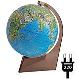 Глобус Земли «Двойная карта» рельефный с подсветкой на треугольнике