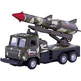 """Металлическая машина Технопарк """"ГАЗ 66 грузовик с ракетой"""", 12 см (зеленый камуфляж)"""