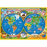 Карта Мира настольная для малышей. Вокруг света со Смешариками. 58х38 см. ЛАМ ГЕОДОМ