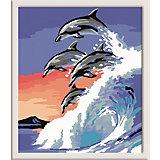Раскрашивание по номерам «Дельфины» Размер картинки – 18*24 см