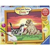 Раскрашивание по номерам «Котенок и щенок» Размер картинки – 30*24 см