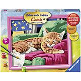 Раскрашивание по номерам «Спящий котенок» Размер картинки – 30*24 см