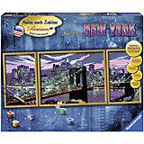 Раскрашивание по номерам «Небоскребы  Нью-Йорка» Размер картинки – 100*40 см