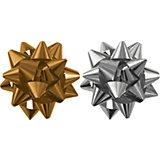 Бант-звезда, 2 штуки в PP пакете (золотой, серебряный).