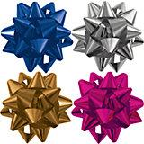 Бант-звезда, 4 штуки в PP пакете с подвесом, цвета в ассортименте