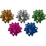 Набор из 5-и металлизированых бантов-цветков (малых) для праздничной упаковки.