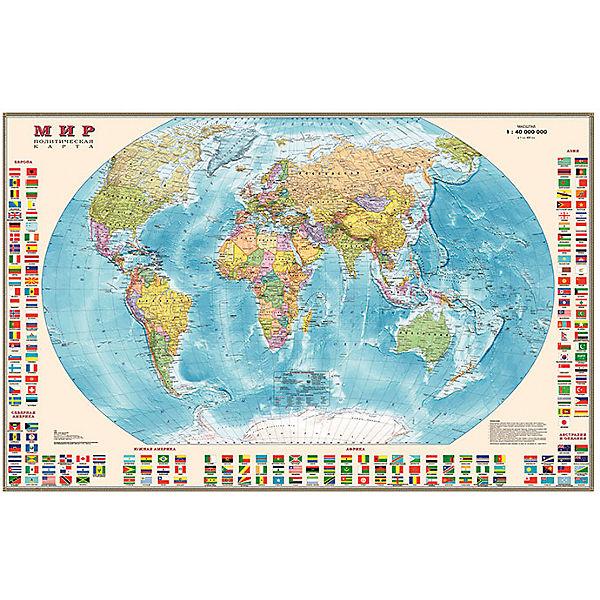 Карта Мира, Политическая с флагами 1:30М на рейках