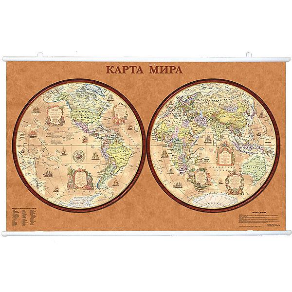 Карта Мира, Политическая, Полушария стиль Ретро 1:34М на рейках