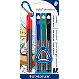 Набор перманентных маркеров Triplus, 4 цвета,  1-2 мм, Staedtler