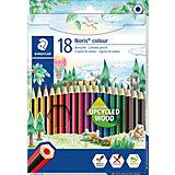Карандаши цветные Noris Colour, 18 цветов, WOPEX, Staedtler