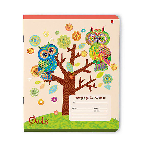 Тетрадь Сказочные совы 12 листов, линейка,  рисунок  , 10шт.