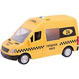 """Машина """"Такси"""" 22 см, пластиковая, инерционная со светом и звуком, открывающиеся двери."""