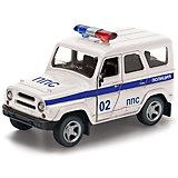 """Машина  металлическая  инерционная  """" УАЗ Hunter полиция """"  открываются  двери ."""