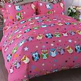 Детское постельное белье 1,5 сп Letto Совы, розовый
