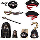 "Набор пирата ""Капитан Кросс"", Lion Touch (Плащ,Шляпа,Сабля,Меч,Крюк,Повязка)"