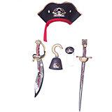 "Набор пирата ""Капитан Кросс"", Lion Touch (Шляпа,Сабля,Меч,Крюк,Повязка)"