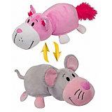 Мягкая игрушка-вывернушка 2 в 1 1Toy Розовый кот-Мышь, 28 см