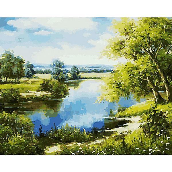 """Раскраска по номерам Белоснежка """"Лесное озеро"""", 40х50 см"""