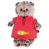 Мягкая игрушка Budi Basa Кот Басик в красном флисовом жилете, 19 см