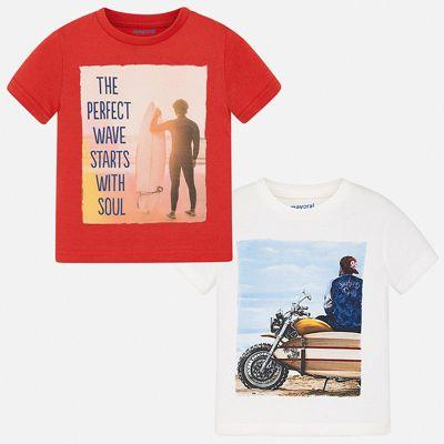 Комплект:2 футболки Mayoral для мальчика - красный