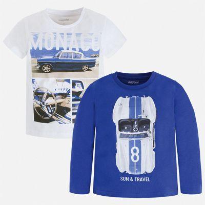 Комплект:Футболка с длинным рукавом,футболка Mayoral для мальчика - синий