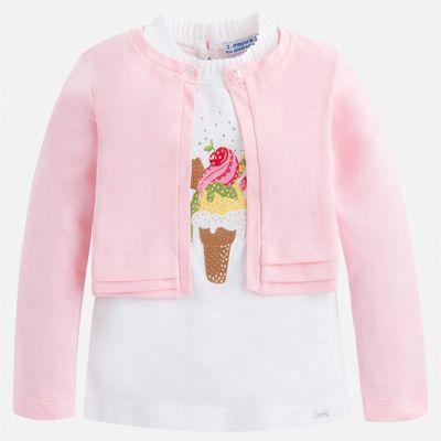 Комплект:блузка,кардиган Mayoral для девочки - розовый