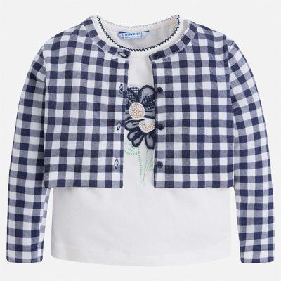 Комплект:блузка,кардиган Mayoral для девочки - синий