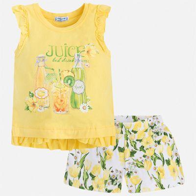 Комплект:шорты,футболка Mayoral для девочки - желтый