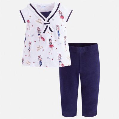 Комплект:леггинсы,блузка Mayoral для девочки - синий