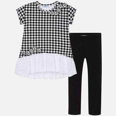 Комплект:леггинсы,блузка Mayoral для девочки - черный
