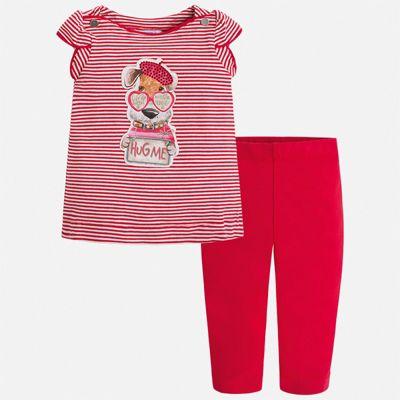 Комплект:леггинсы,блузка Mayoral для девочки - красный