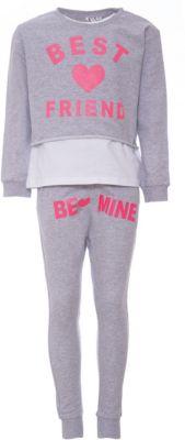 Комплект: футболка с длинным рукавом, леггинсы iDO для девочки - серый