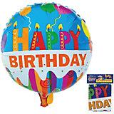 """Фольгированный шар ACTION! """"Happy Birthday"""" 53х47см"""