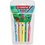Набор ручек шариковых Stabilo 828mini funnimals синих, 5шт в блистере