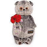 Мягкая игрушка Budi Basa Кот Басик с букетом красных роз, 19 см
