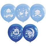 """Воздушные шары Latex Occidental """"С днём рождения. Малыш"""" голубые 25 шт., пастель + декоратор (шёлк)"""