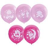 """Воздушные шары Latex Occidental """"С днём рождения. Малышка"""" розовые 25 шт., пастель + декоратор (шёлк)"""
