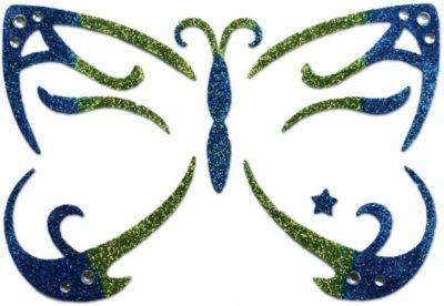 """Стикер для лица Partymania """"Карнавал"""", Сине-зеленая Бабочка - синий/зеленый"""