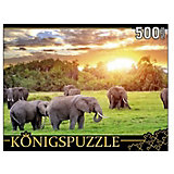 """Пазл Konigspuzzle """"Кенийские слоны"""" 500 элементов"""