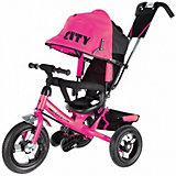 Трехколесный велосипед City пластиковые колеса 8/10, розовый