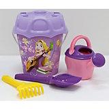 Набор Disney «Принцесса» №15: ведро большое с наклейкой, ситечко большое №3, лопата №6, грабли №6, лейка №8