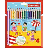 """Набор утолщенных цветных карандашей Stabilo """"Trio"""", 18 цветов"""