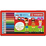Набор цветных карандашей Stabilo, 12 цветов, в металлическом футляре