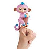 Интерактивная обезьянка Fingerlings Канди, 12 с, (розовая с голубым) WowWee