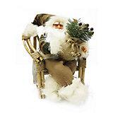 """Фигурка под ёлку MaxiToys """"Дед Мороз в плетёном кресле"""" с музыкой, 40 см."""