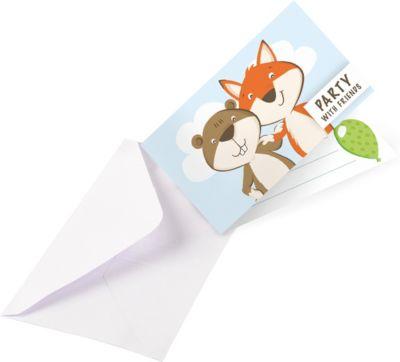 Einladungskarten Set Fuchs & Biber, 8 Stück